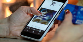 Mobile phone user shopping online