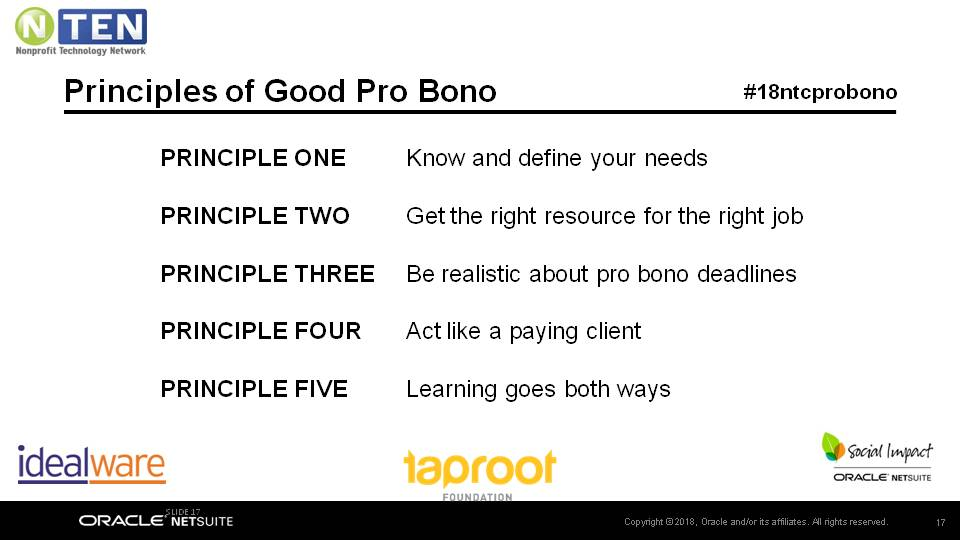 Slide listing principles of good pro bono: Know and define your needs, Get the right resource for the right job, Be realistic about pro bono deadlines, Act like a paying client, Learning goes both ways